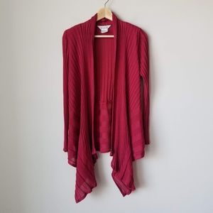 Misook Red Handkerchief Hem Cardigan Sz Small
